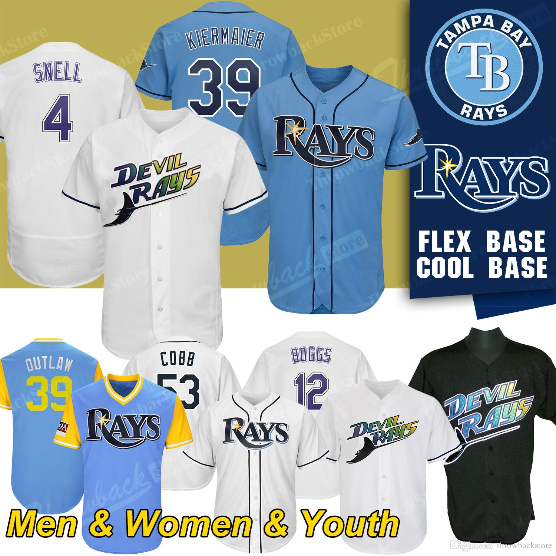 huge selection of 699f8 cedbc Tampa Bay Custom Rays Blake Snell Jersey Kevin Kiermaier Wade Boggs Alex  Cobb Men s women youth Baseball Jerseys