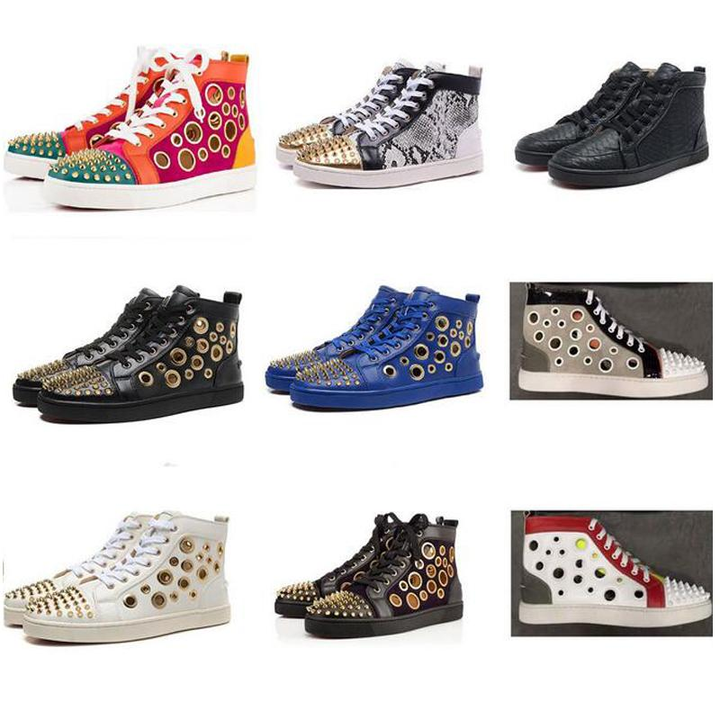 Original Studded Spikes Flats shoes hight cut Red Bottom Shoes For Men and Women Party Lovers Leather Sneakers size