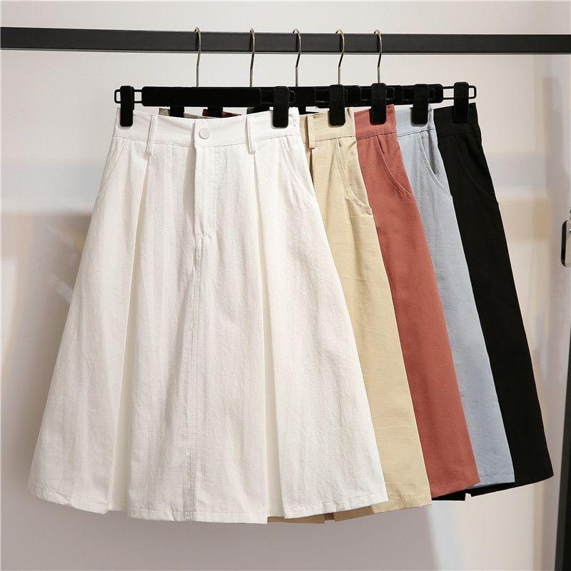 High-waist Half-length Skirt Female Summer Mid-length Skirt 2018 New Korean  Pure-color Double-pocket Fashion A-shaped Skirt