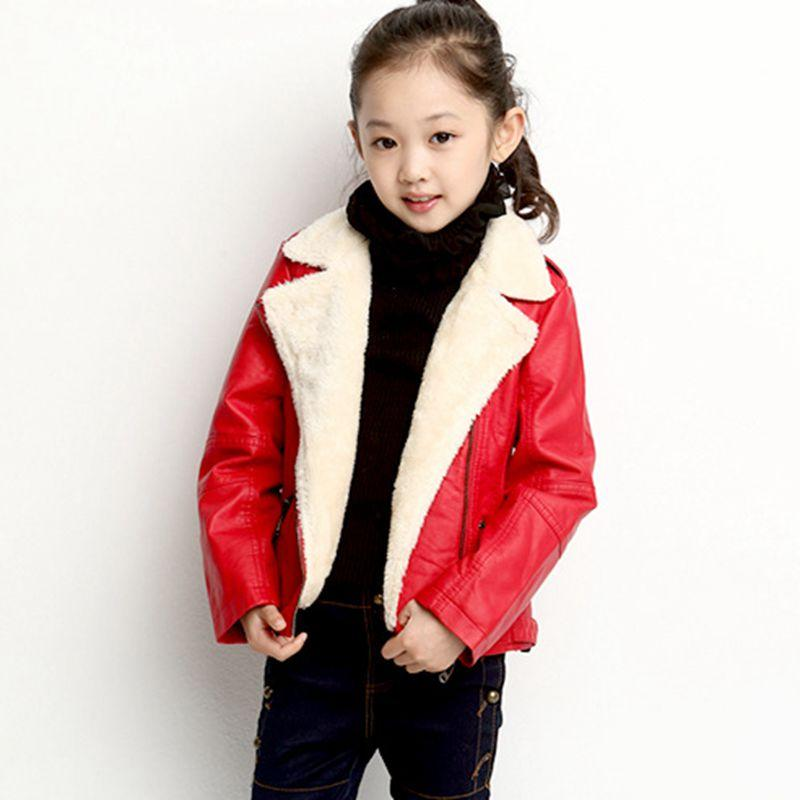 b8279d42f New Winter Kids Shorts Pu Leather Solid Color Motorcycle Jacket Boy ...