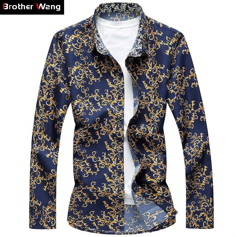 1b32ecbca Brother Wang 2019 New Men's Flower Shirt Fashion Slim Male Casual  Long-sleeved Hawaiian Shirt Large Size Clothes 6xl 7xl J190415