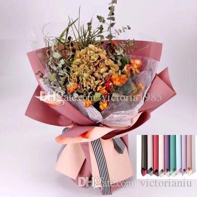 40 * 45 cm 20pcs / lot Carta da imballaggio di fiori Impermeabile Double sided Materiale per l'imballaggio di colore solido Fioraio Art Wedding Bouquet Gift Decor