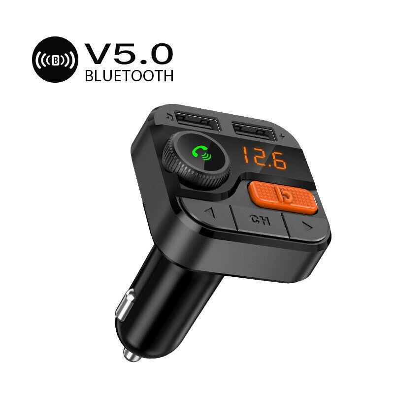 Bluetooth 5.0 MP3 Player Handsfree Car Kit FM Transmitter support TF Card U disk Fast Dual USB Charger Power Adapter