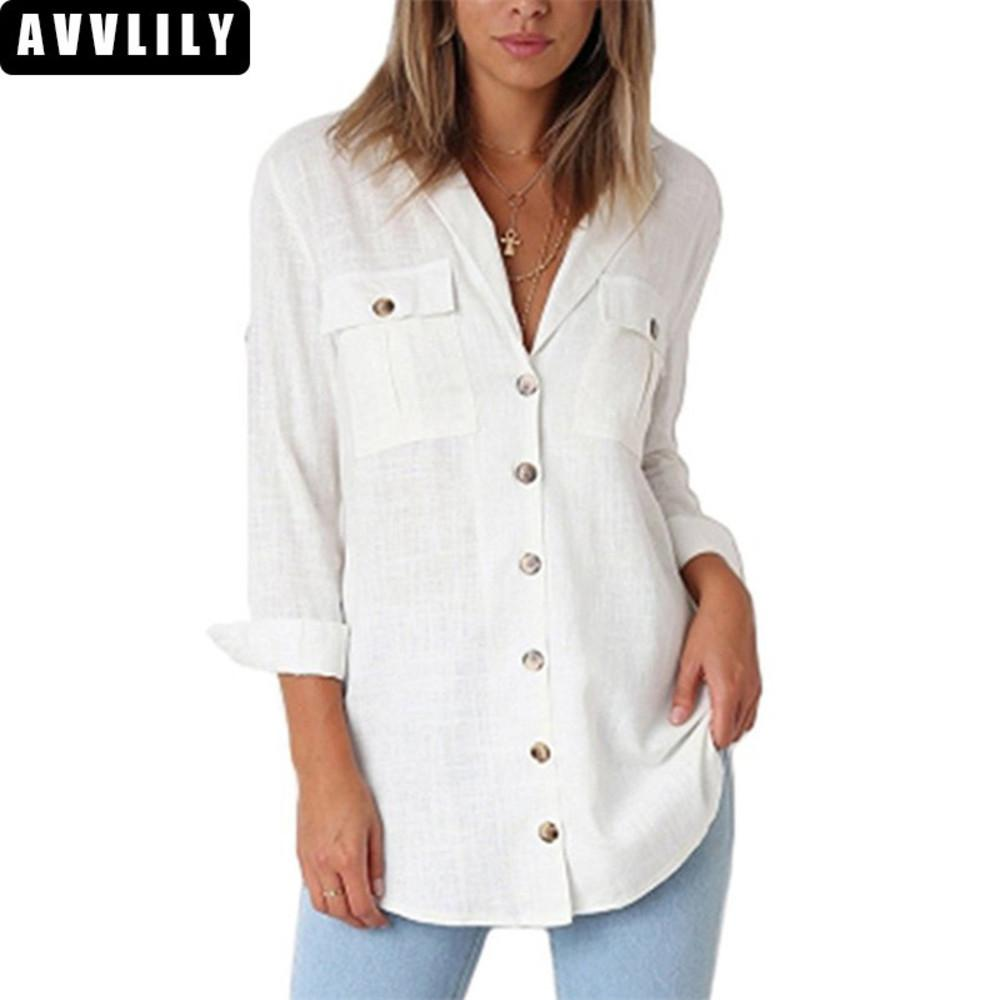 38156173e3ded1 2019 Hot Sale 2018 Autumn Women Fashion V Neck Button Long Sleeve Blouse  Office Lady Shirts Casual Solid Loose Blouses Bloes Dames From Firstcloth