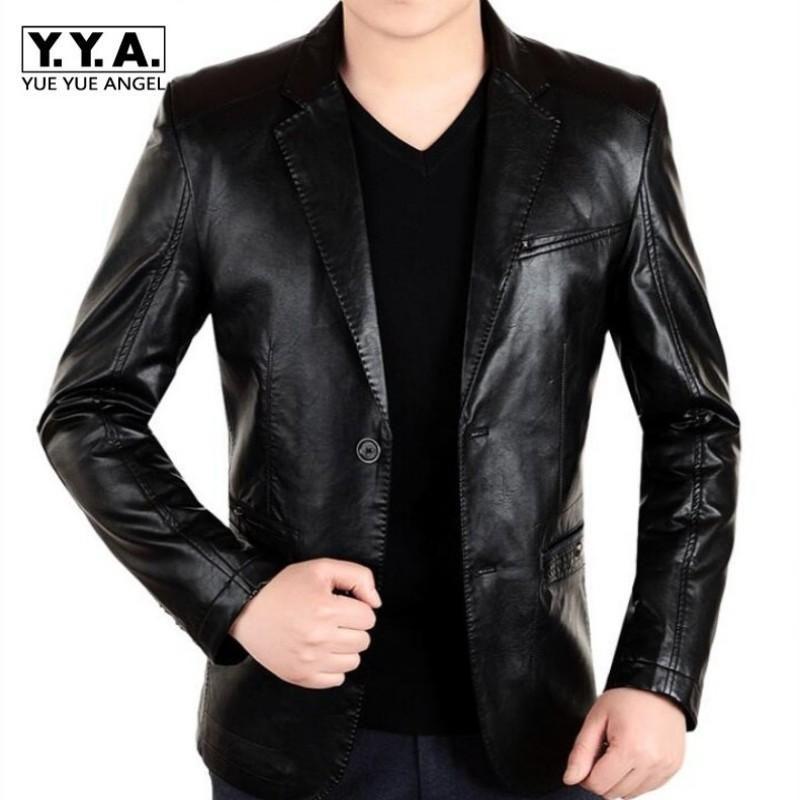 861f2b71168e7 Compre New England Mens Leather 2 Button Formal Trajes De Vestir Hombre De  Moda Blazers Negro Rojo Marrón Sólido Motocicleta Abrigo De Gamuza Chaqueta  ...