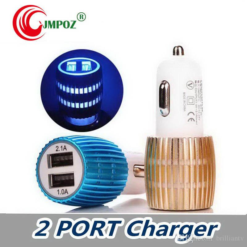 New Universal Dual USB Car Charger With Blue Light LED 3.1A Aluminium Alloy Car 2usb port Charger For Cell Phone Table PC