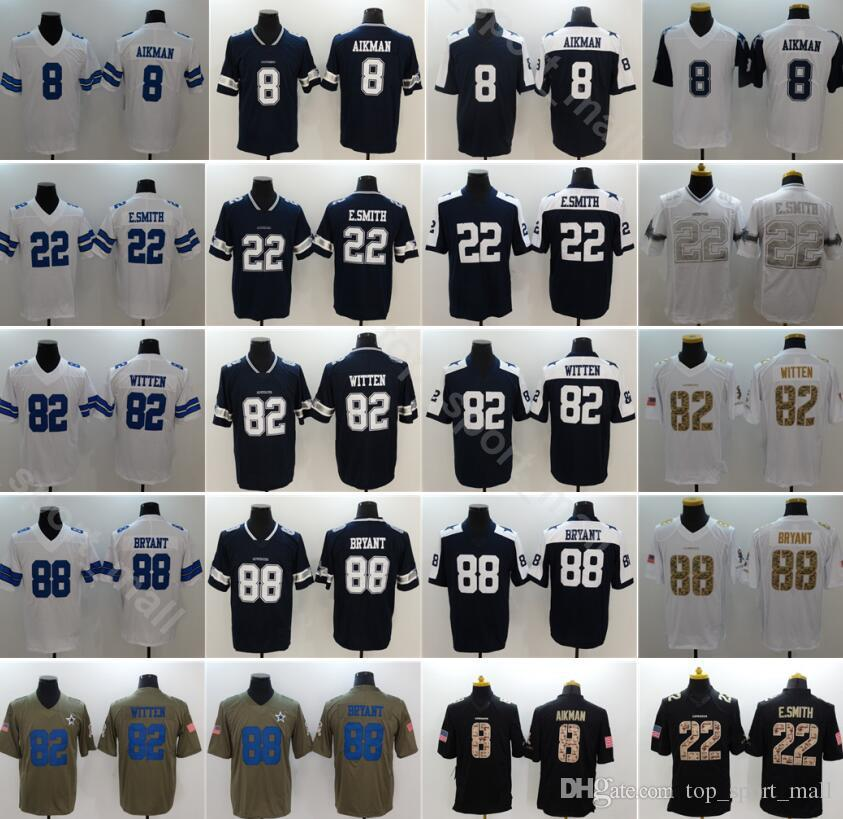 Men Football 88 Dez Bryant Jersey Dallas Cowboys 82 Jason Witten 8 Troy Aikman 22 Emmitt Smith Vapor Untouchable Blue White Thanksgiving