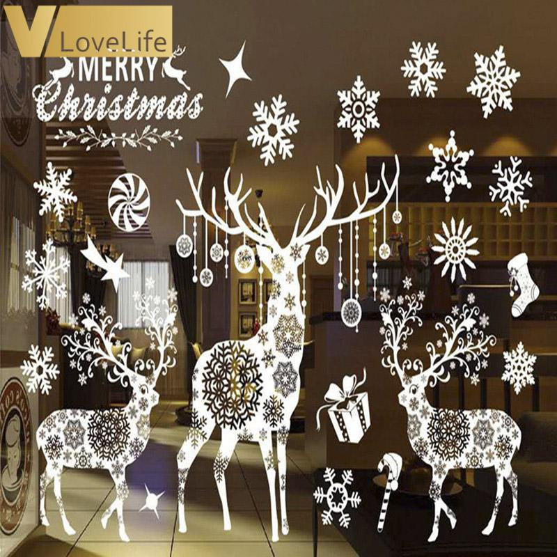 Merry Christmas White Reindeer & Snowflake Window Sticker Wall Sticker Wall Decals Removable DIY Window Door Decorations