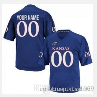 Personalizado Kansas Jayhawks College Football Jersey Mens limitada Royal Blue costurado personalizado qualquer nome faz Número Jerseys XS-5XL