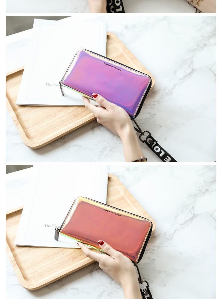 2018 Women Wallets Geometry Luminous Clutch Female Zipper Phone Bag High Capacity Women Coin Purse Holders with Lanyards Wallet