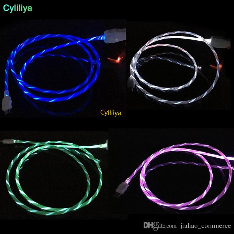 LED Flowing Visible Flashing Cable Micro USB Data Sync Charging Cord 1M 3FT Light UP Type C Cable Wire For Samsung S8 S9 plus HTC Universal