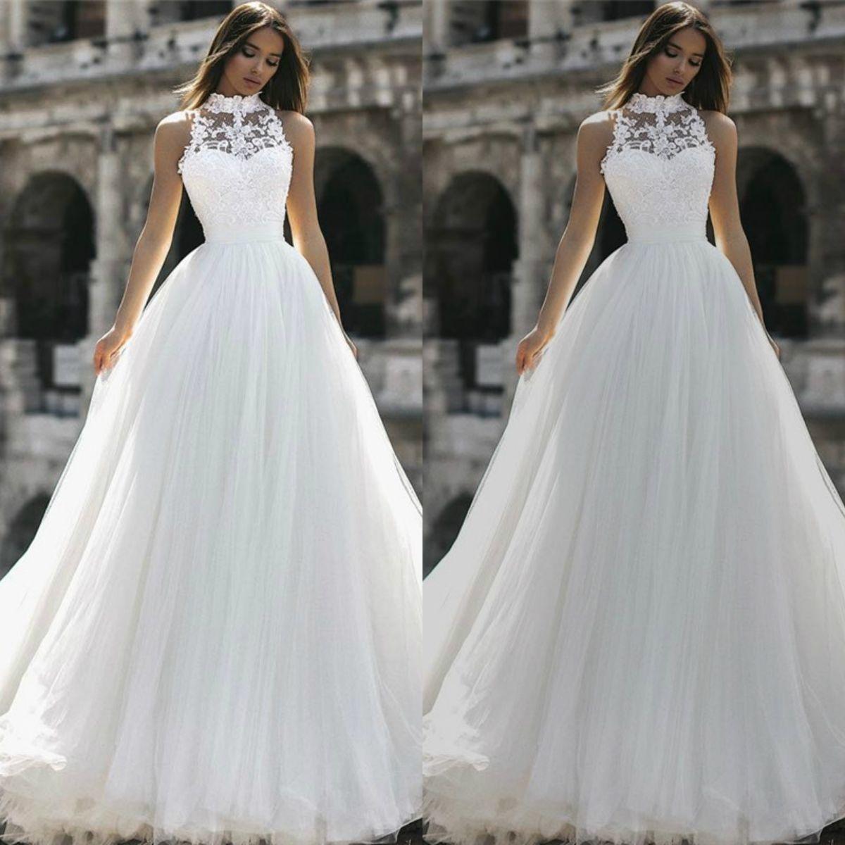 51ab707a6d Discount Berta 2019 A Line Beach Wedding Dresses High Neck Lace Sleeveless  Tulle Sweep Train Bridal Gowns Behemia Boho Wedding Gown Vestido De Novia  Wedding ...