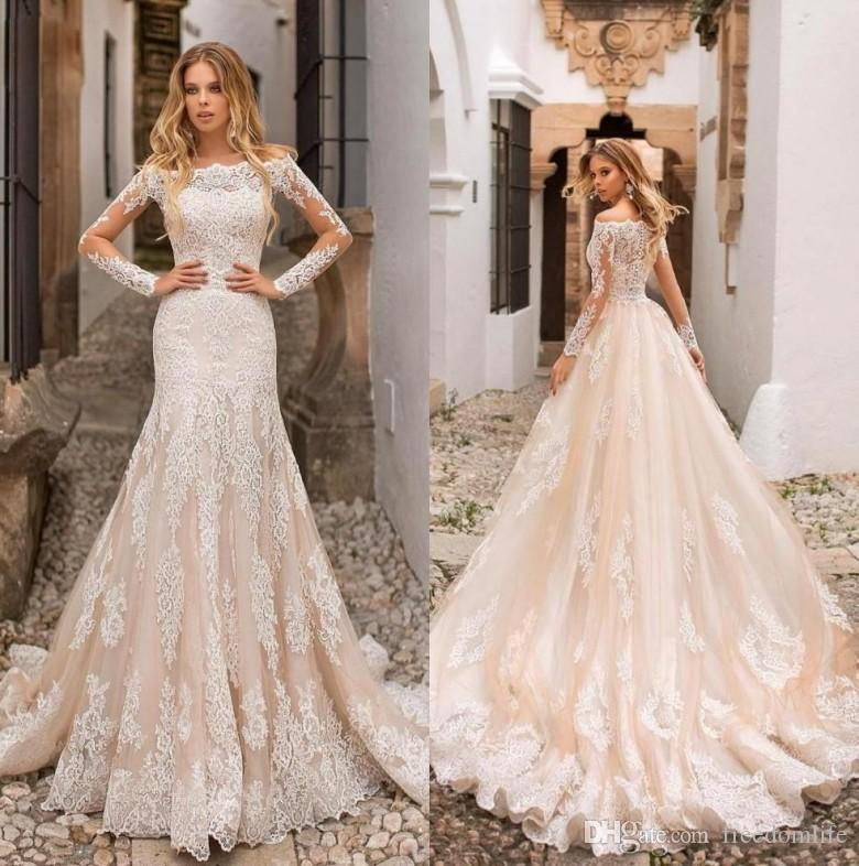 f4807d7dfa63 Modest Mermaid Wedding Dresses With Detachable Skirt Bateau Neck Long  Sleeves Tulle Lace Applique 2019 Overskirts Bridal Gowns Lace Wedding  Dresses Cheap ...