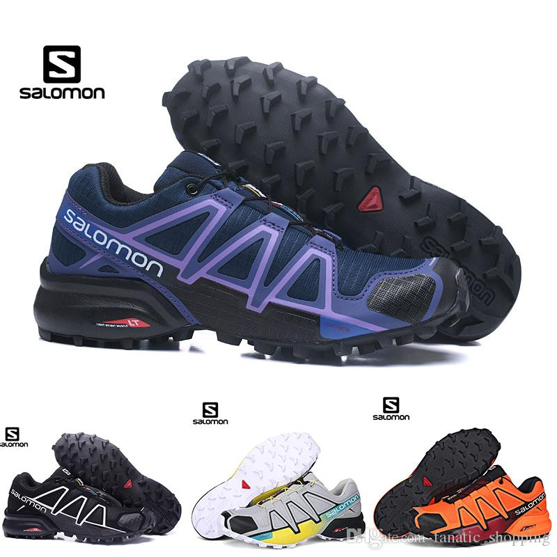 760fc610cfd Acheter Salomon Speed Cross 4 CS Hommes Femmes Chaussures De Randonnée  SpeedCross 4s Noir Pourpre Orange Bleu En Plein Air ASports Sneakers 36 46  De ...