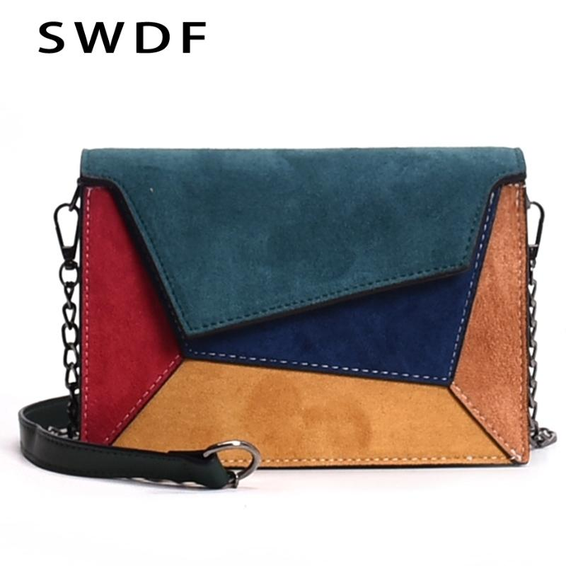 152d92fbacc Swdf 2019 New Bags Woman Punk Colorful Shoulder Bags Girl Luxury Bolsa  Patchwork Messenger Bags Ladies Hot Letter Pendant Bag S326