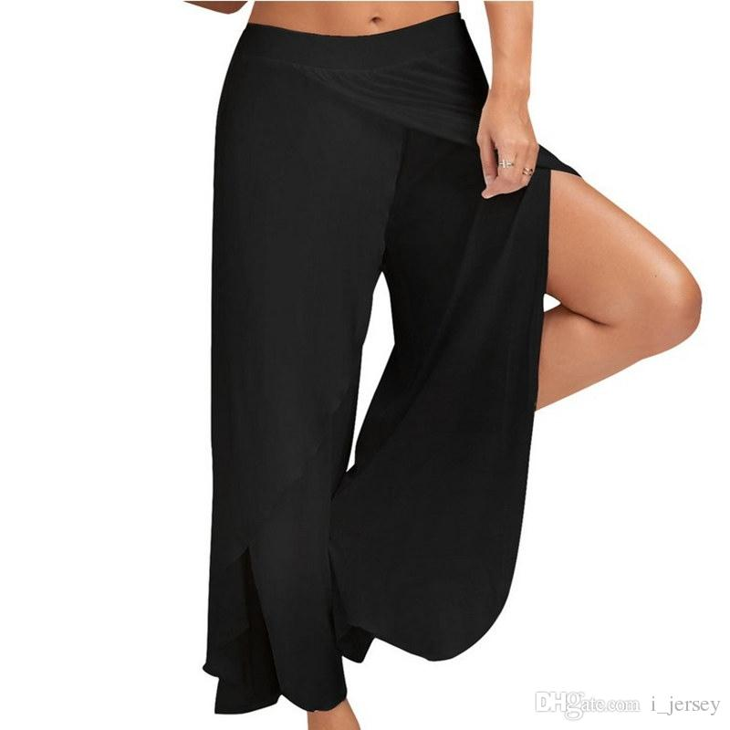 9d7dc13770855d XC Sexy Grande Taille Lâche Large Jambe Yoga Pantalon Femmes Moitié Exposé  Fitness Gym Sport Pantalon De Course Noir Blanc Pantalon Sport M-5XL # ...