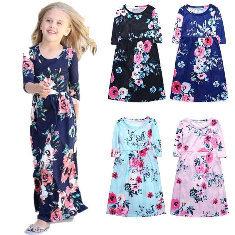 86c5df738 Girls Dresses Autumn Cute Baby Girls Hit Color Long Dress Children ...