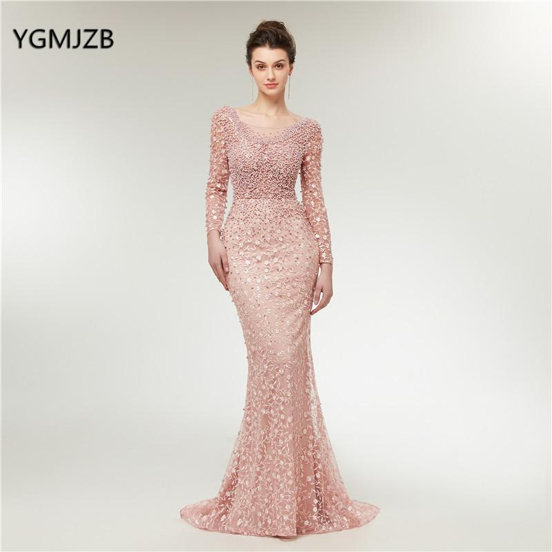 d7b1aad818 Luxury Evening Dresses 2019 Mermaid Long Sleeves Pearls Lace Embroidery  Pink Women Formal Party Gown Prom Dress Robe De Soiree Y19042701