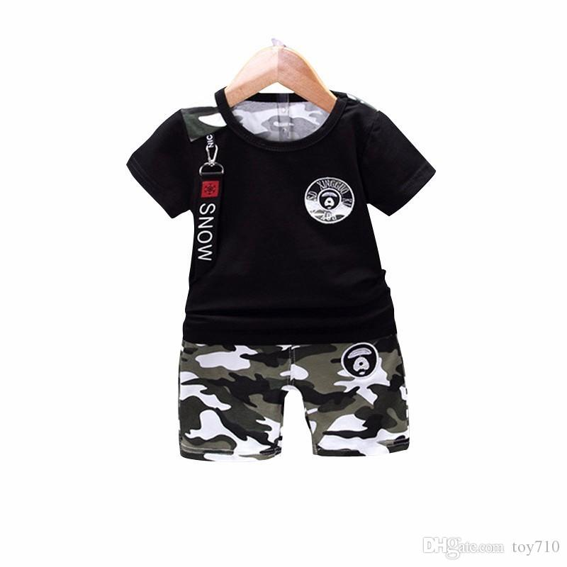 e797b68e1feb 2019 New Summer Casual Camouflage Newborn Baby Boy Toddler Clothes ...