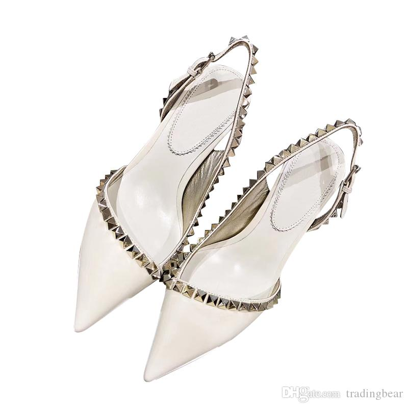 with box white rivets genuine leather sling back shoes bridal wedding shoes pointy mid heel dress shoes designer pumps tradingbear