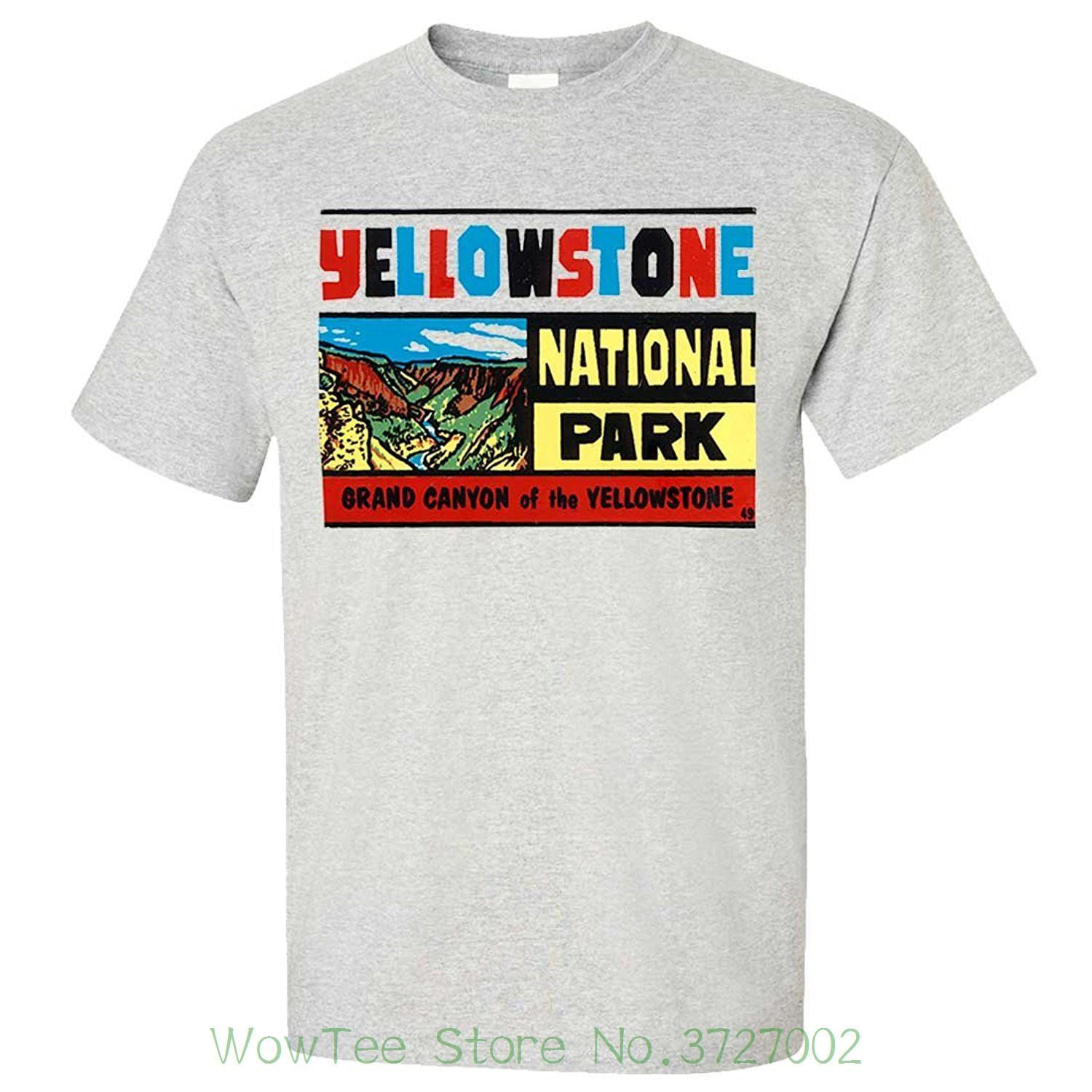 Vintage State Sticker Yellowstone Asst Colors T Shirt Tee Print