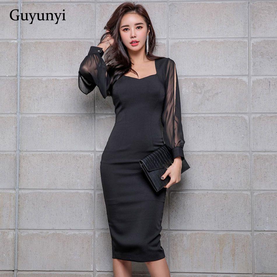 7ac4d7f3a Black Elegant Office Dress 2019 Spring Women's Dress Chiffon Stitching  Nine-point Sleeves Athens Generous Pencil Dress Y19051001