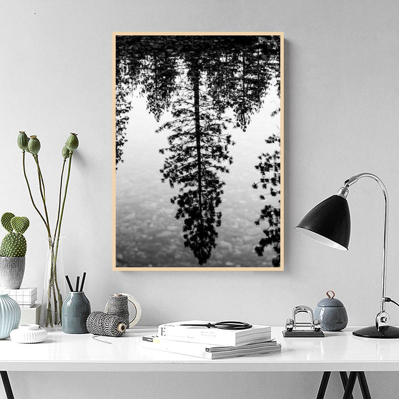 Tree Reflection Painting Classic Canvas Paintings Vintage Wall Posters Stickers Home Decor Gift