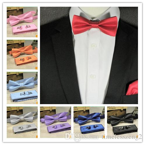 3 pz / set solido arco cravatte set 15 colori mens moda bowtie fazzoletto gemelli set smoking accessori per la festa nuziale vestito di affari