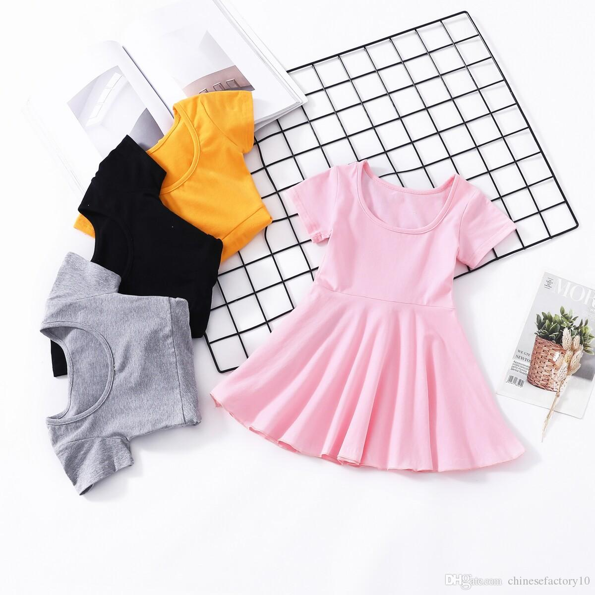 ebf8bc888e12e Baby Girl Dresses Boutique Kids Girls Clothing 2019 Summer Dress Backless  Cotton Short Sleeves 2019 New 4 Colors