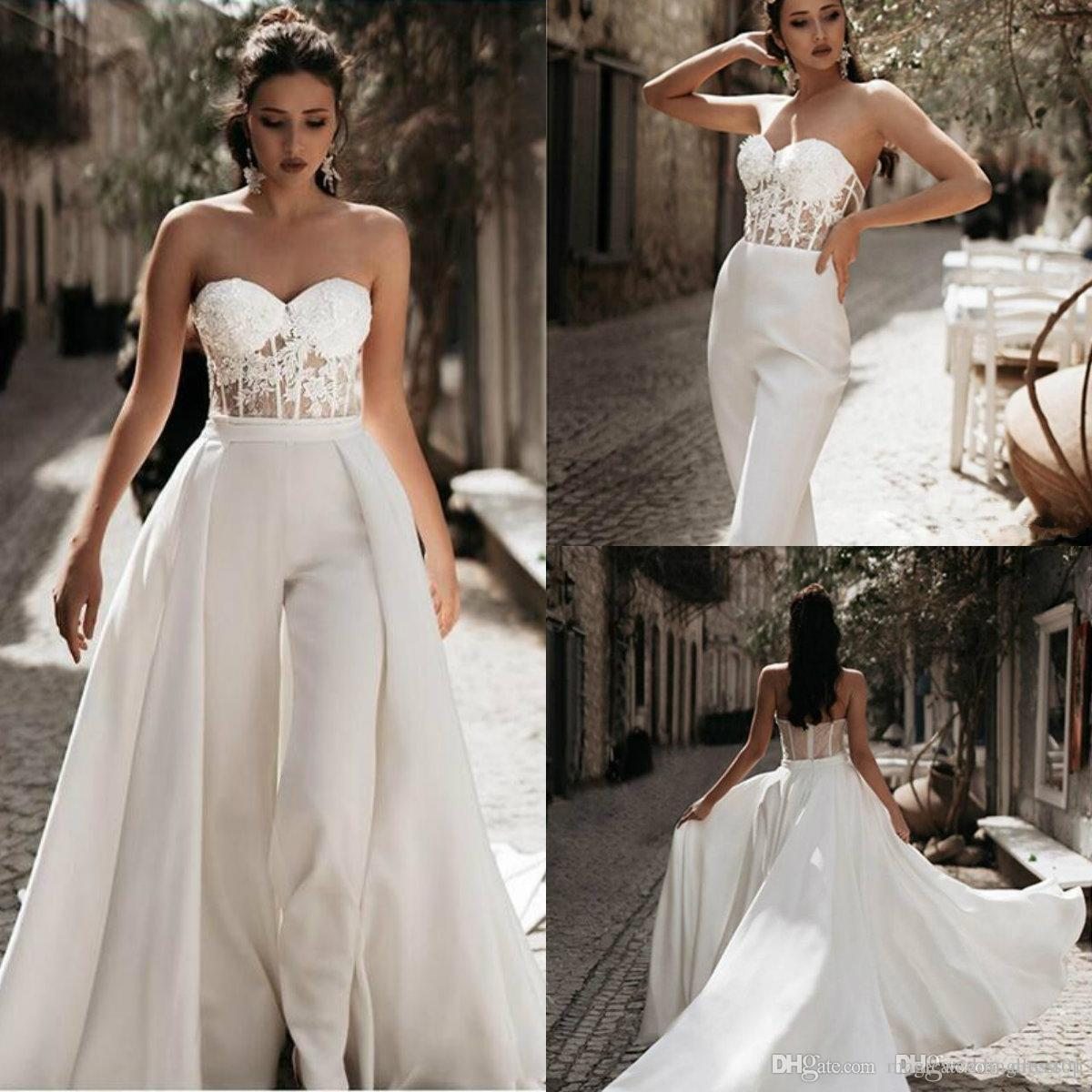 2020 Modest Jumpsuit Wedding Dresses with Detachable Train Sweetheart Pants Bridal Gowns Satin Lace Appliques Beach Wedding Dress