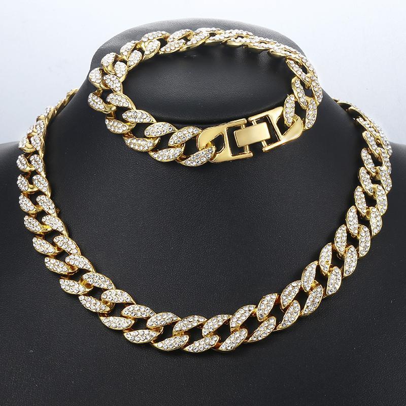 8e163cd591b5 Conjuntos de joyas para hombre de Davieslee Hip Pop Iced Out Gold Miami  Curb Juego de collar con pulsera de cadena cubana para hombres Dropshipping  2019 ...