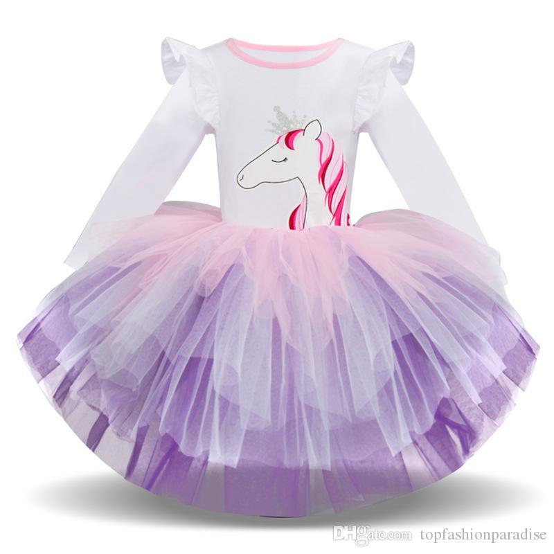 1a4b5bab9 Princesa Unicornio Vestido Tutu Ropa de Bebé Niña 2019 Nuevos Vestidos de  Fiesta para Niños Vestido de Fiesta de Encaje Vestido de Novia para ...