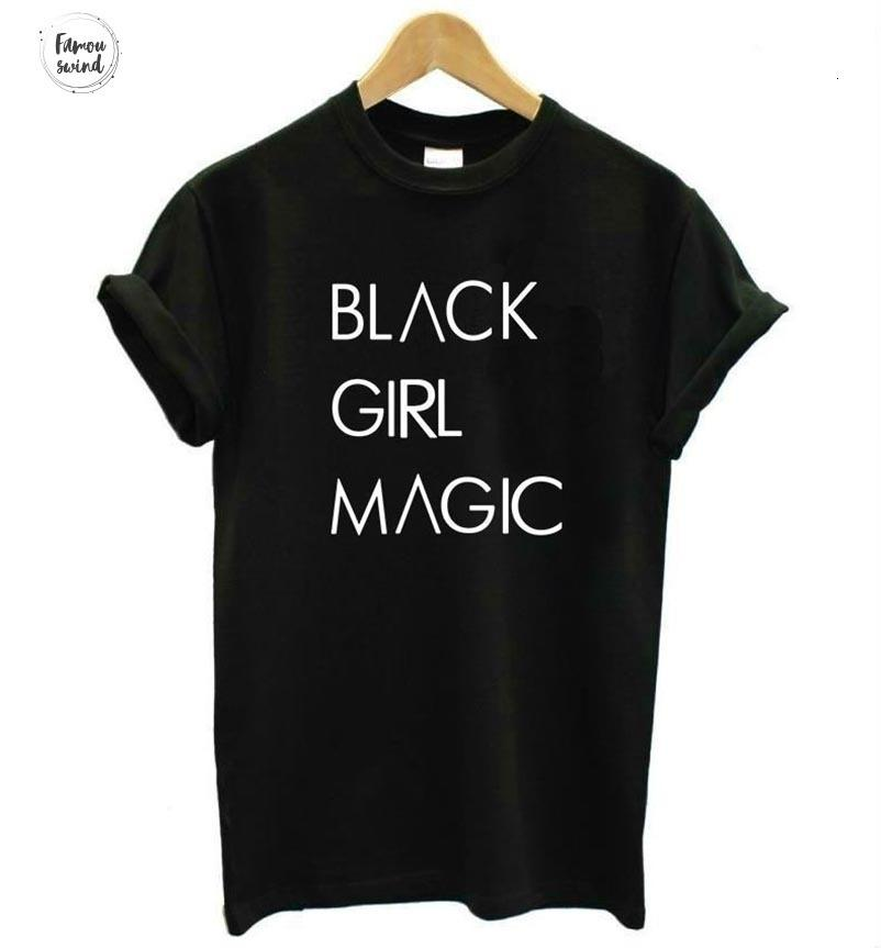 Casual T-shirt Black Magic Girl Impressão Mulheres curto Cotton Funny T Shirt Letters Top Hipster Tumblr Drop Ship Z 975