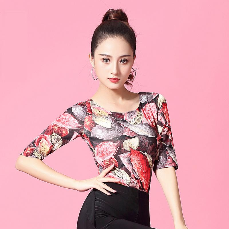 62d820589f2 2019 Fashion Half Sleeve Modern Sexy Latin Dance Clothes Top For Women  Female