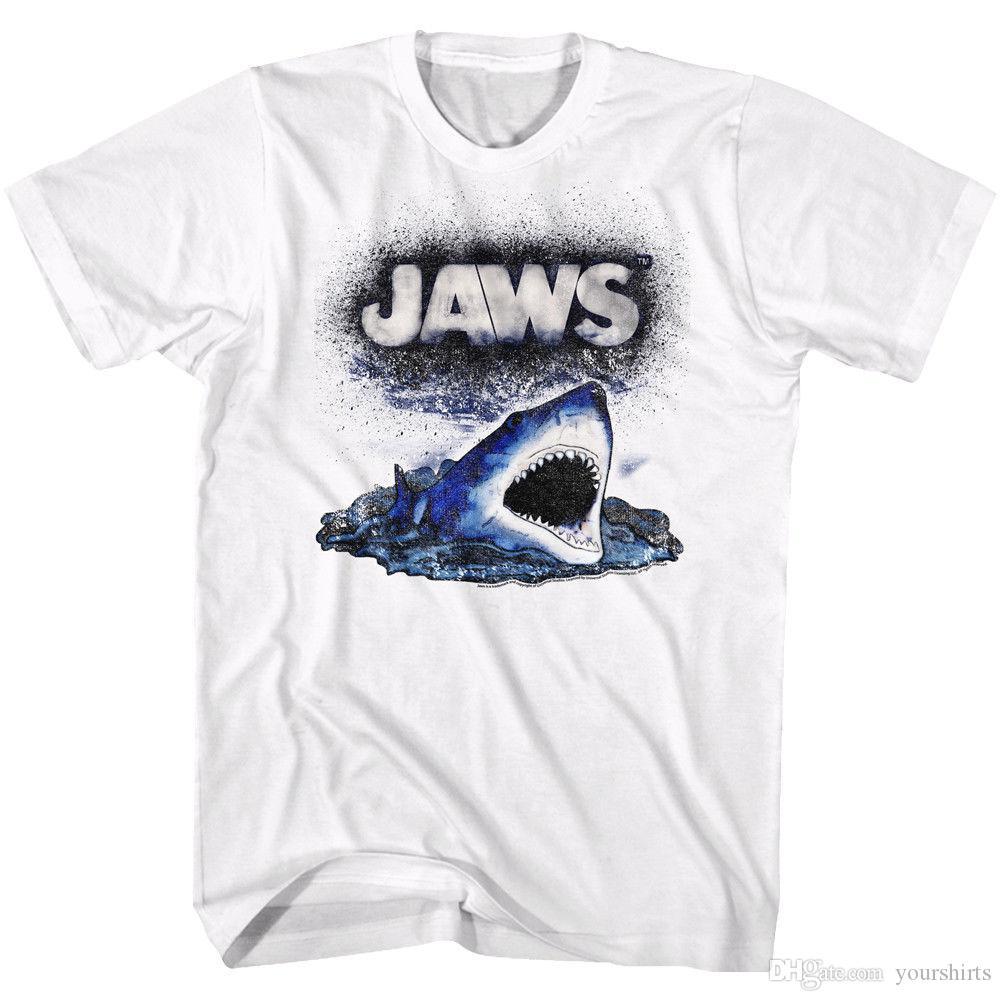 Jaws T Shirt Spray Paint Cartoon White Tee Shirt For Men Funny