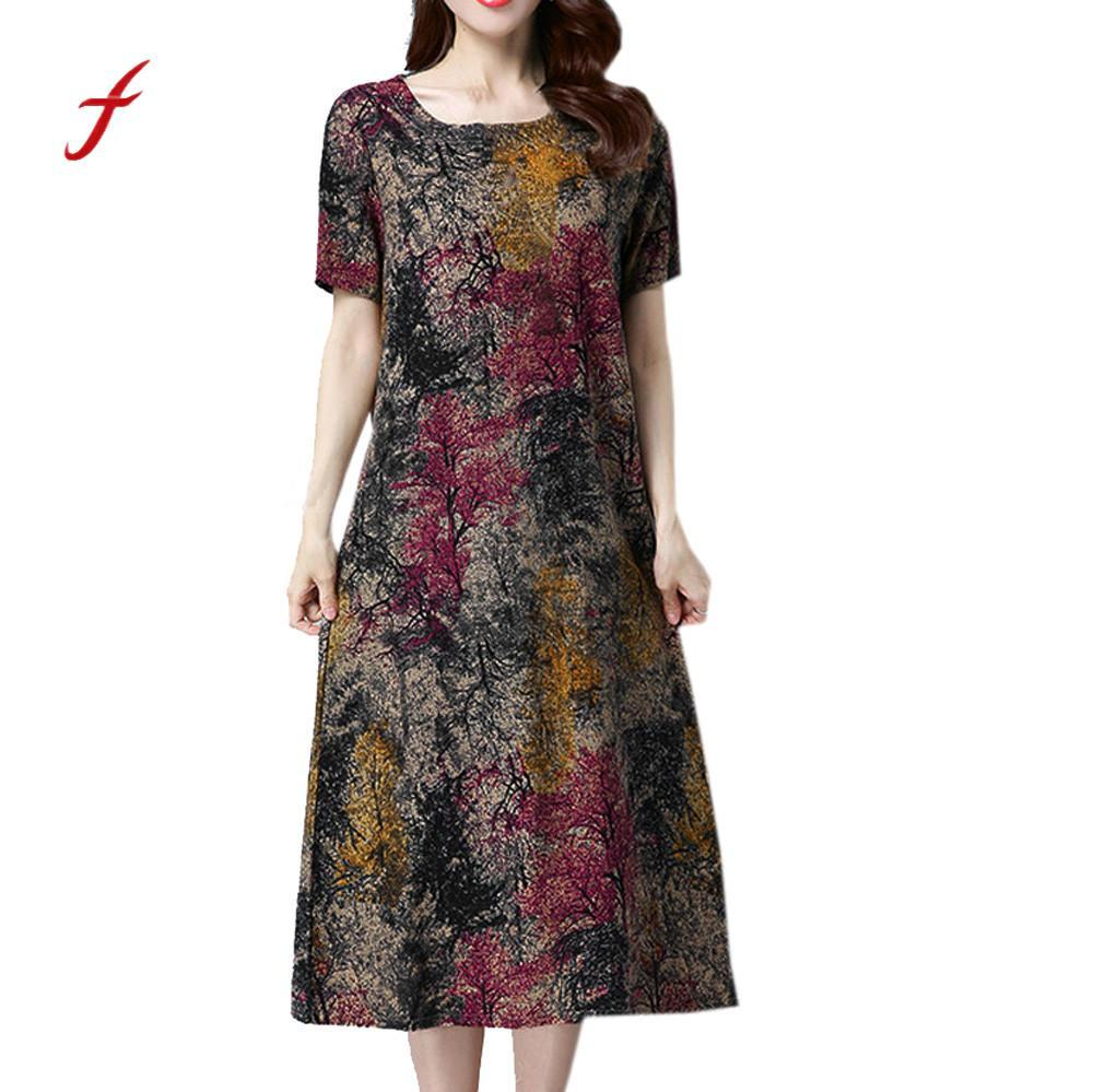Feitong Summer Women Dress Plus Size Fashion Women Short Sleeve Cotton  Linen Dresses Printed Casual Mid-Calf Dresses /PY
