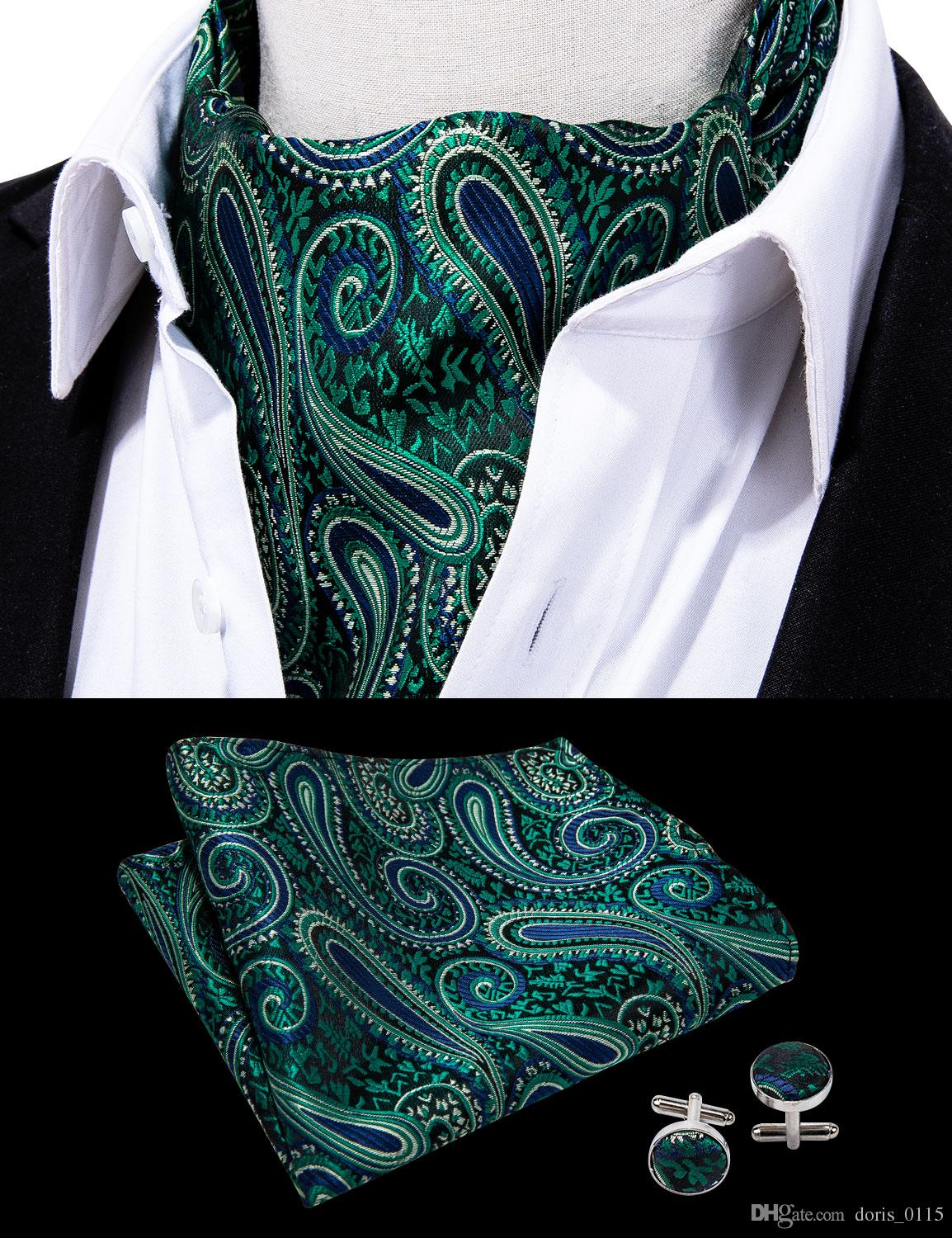 a6e0dd874fabe 2019 Hi Tie Green Floral 100%Silk Ascot Pocket Square Cuffflinks Cravat Set  For Casual Jacquard Dress Scarves Ties Party AS 006 From Doris_0115, ...