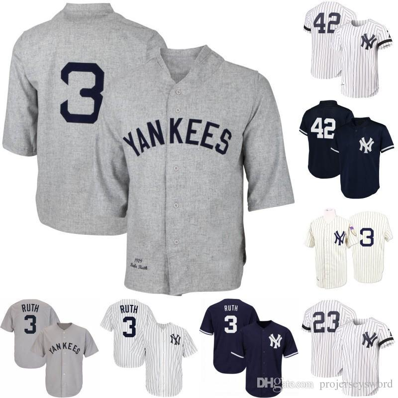 Mens New York 3 Babe Ruth 12 Wade Boggs 23 Don Mattingly 42 Mariano Rivera 51 Bernie Williams Yankees Retro Baseball Jerseys S-XXXL