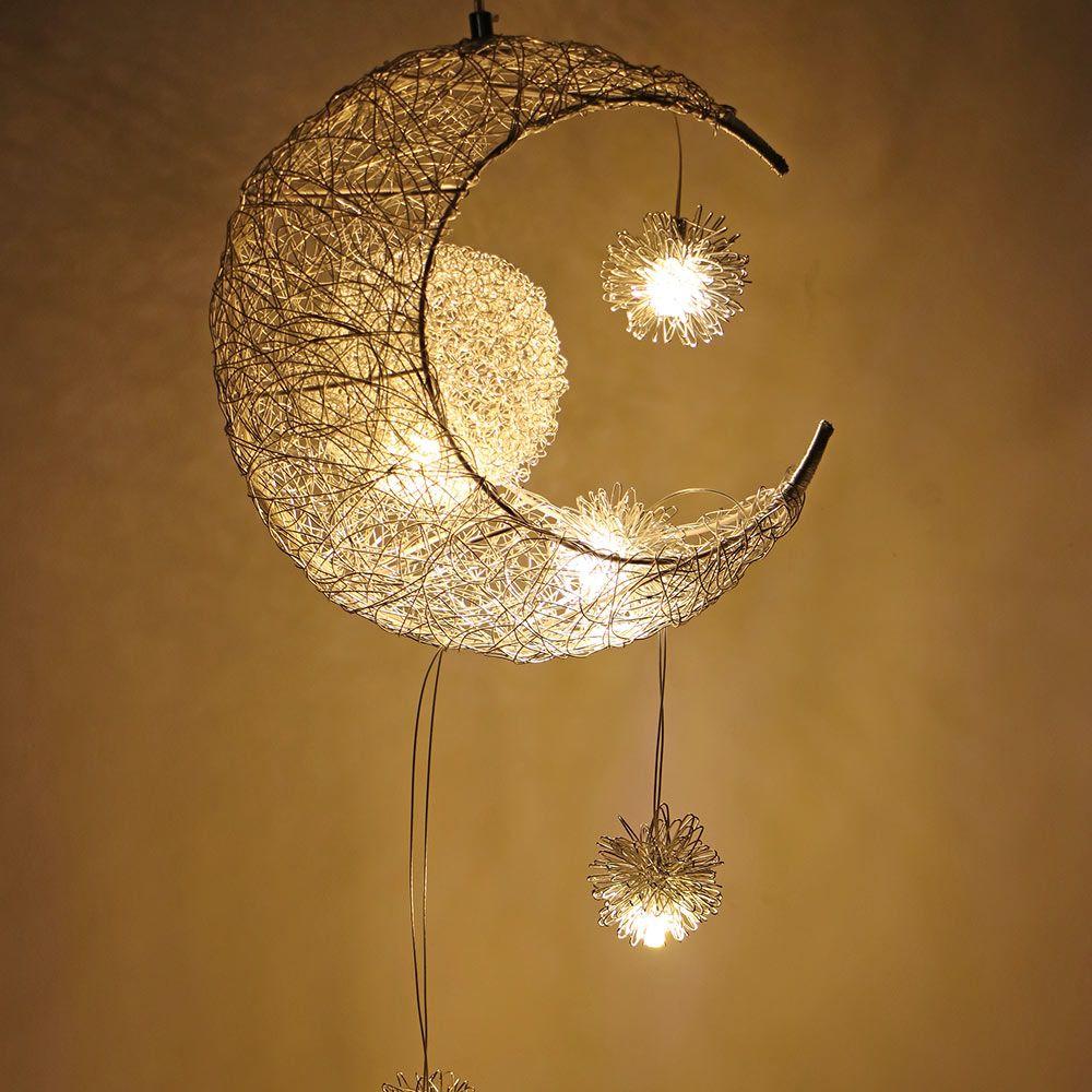 Modern LED Pendant Ceiling Lamps Moon Star Chandelier Hanging Lamp Christmas Decorations For Kids Children Home Fixture Lighting Light