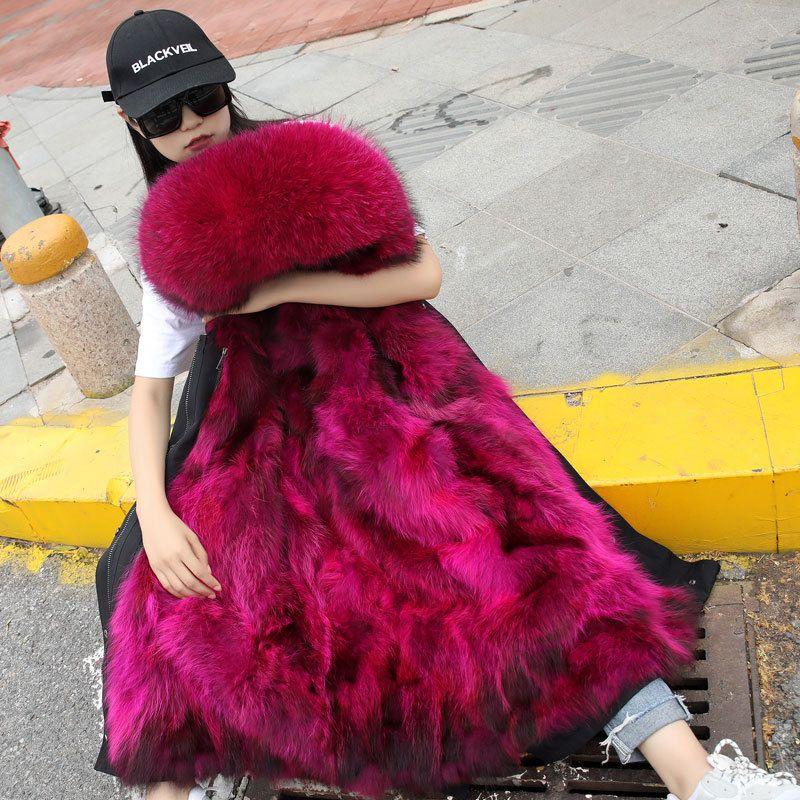 b0e451221 Women Faux Fur Lined Parka Coat Real Fox Fur Trim Hood Long Coat Detachable  Hooded Jacket Thicken Warm Winter Outerwear Overcoat RSH1101