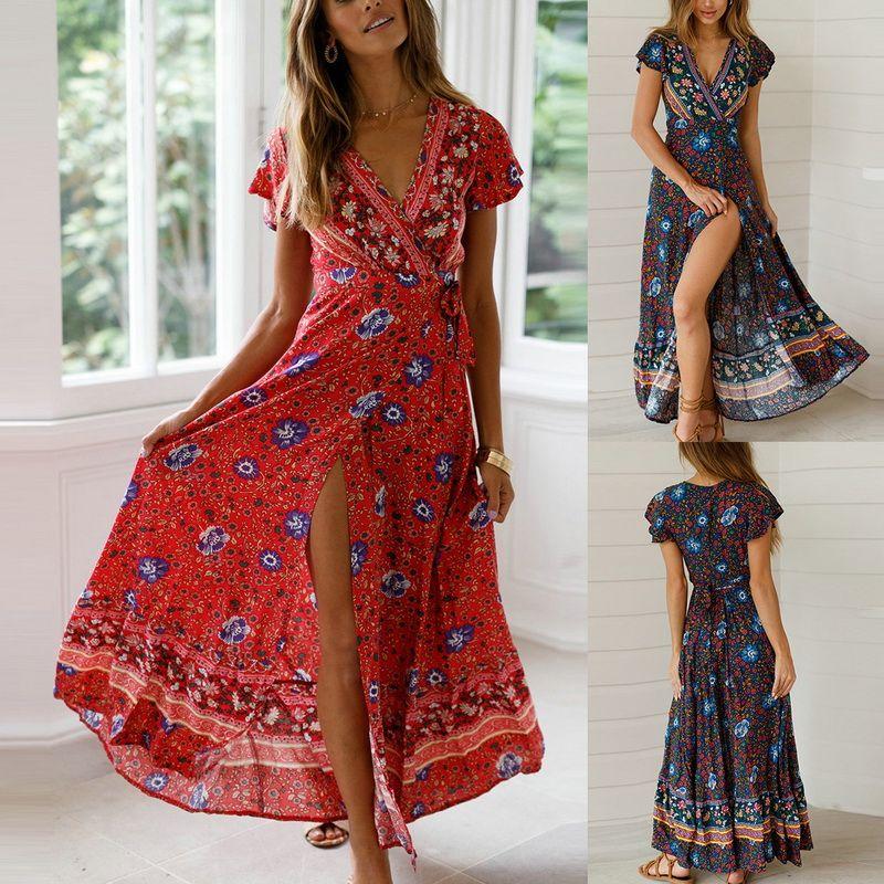 7fa29fbf0c58 MoneRiff Summer Women Floral Print Boho Long Maxi Party V Neck Beach Dress  Bohemia Short Sleeve High Waist Loose Dresses Vestido Black And White  Dresses ...