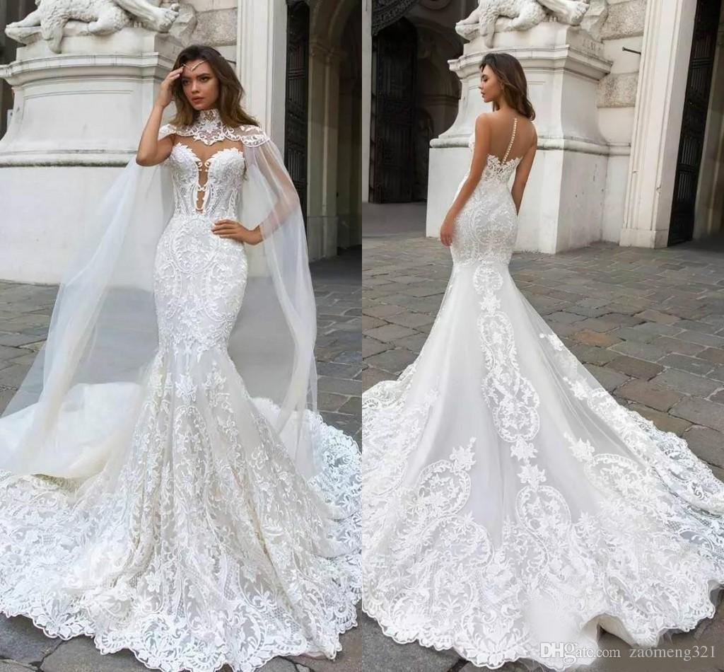 2019 Gorgeous Mermaid Lace Wedding Dresses With Cape Sheer Plunging Neck Bohemian Wedding Gown Appliqued Plus Size