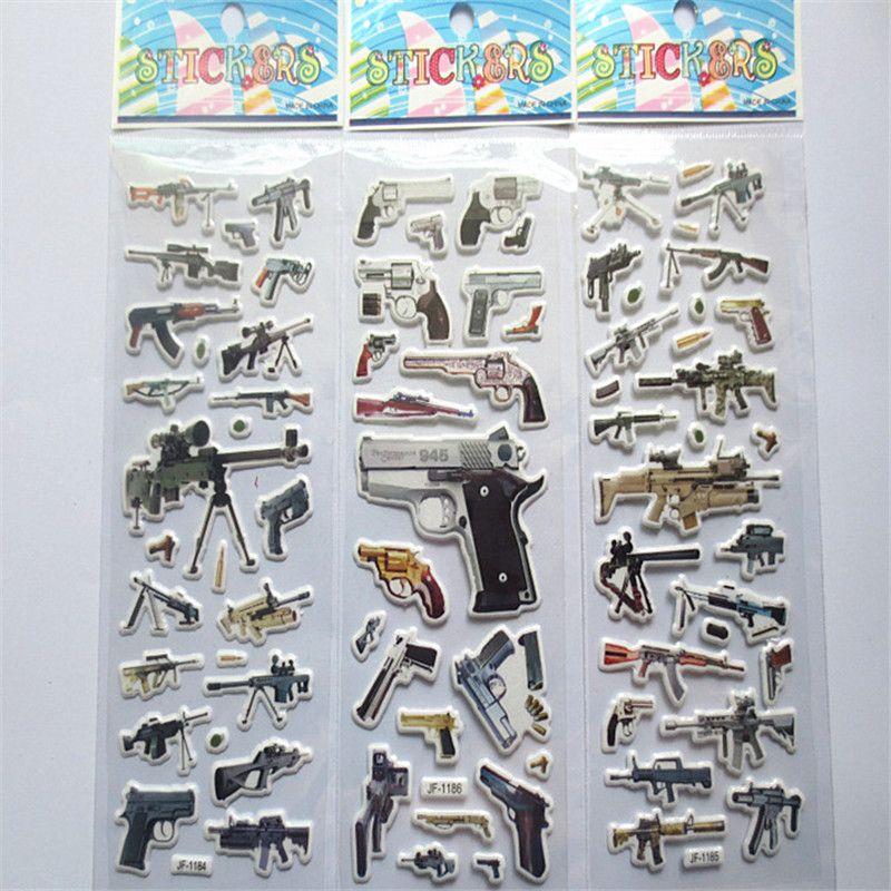 100pcs Pistol gun Sticker Sniper Gun AK-47 Desert Eagle M16 rifle Revolver  Submachine gun Bubble sticker for Reward Boys gift