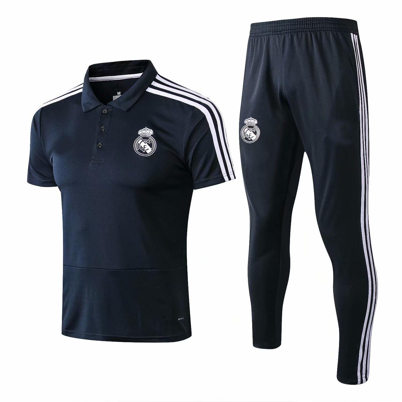 Compre 2018 2019 Real Madrid Polo Traje De Entrenamiento De Manga Corta  Pantalones Largos Kit RONALDO 18 19 Chandal Uniforms Camisetas De Fútbol  Traje A ... 9a85f2f4131fb