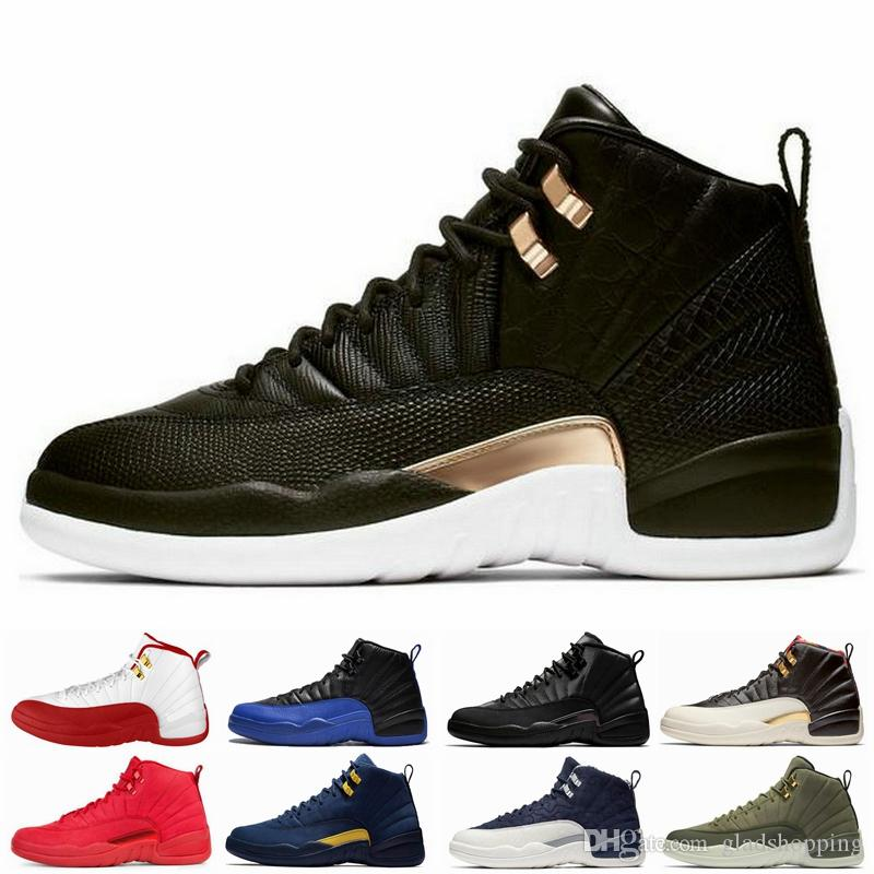 37d0705ded2bab 12 Black Reptile Snakeskin FIBA Game Royal Winterized Bulls Men Basketball  Shoes 12s Michigan CNY Taxi Flu Game Designer Sneakers With Box Shoes  Canada ...