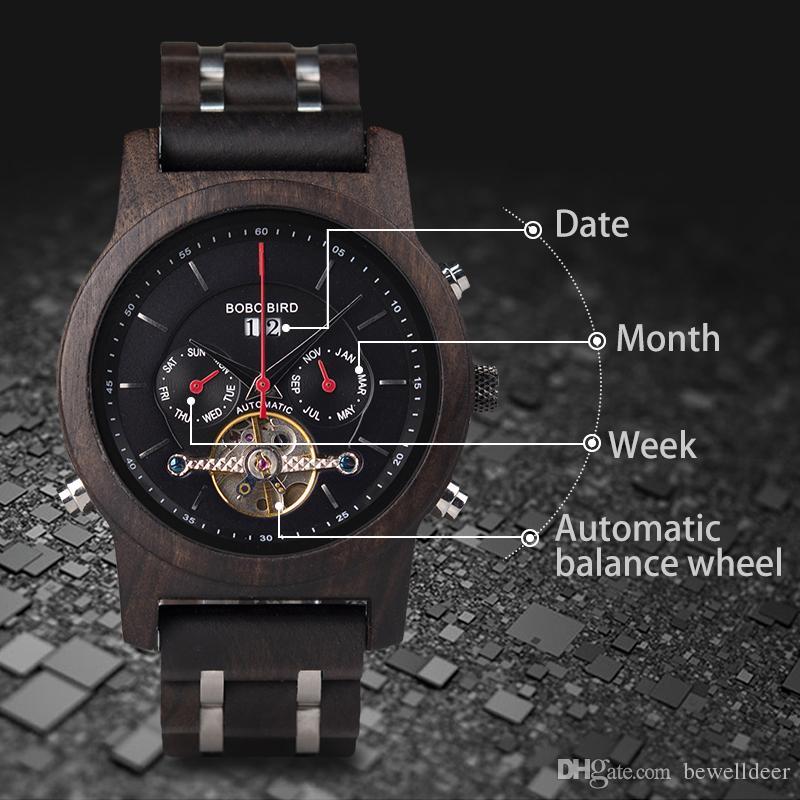 638d4e35d92 Compre BOBO PÁSSARO Relógios Mecânicos Automáticos Homens De Madeira Relógio  De Luxo Com Exibição Do Calendário Multifuction Relogios Automaticos  Mecanic ...