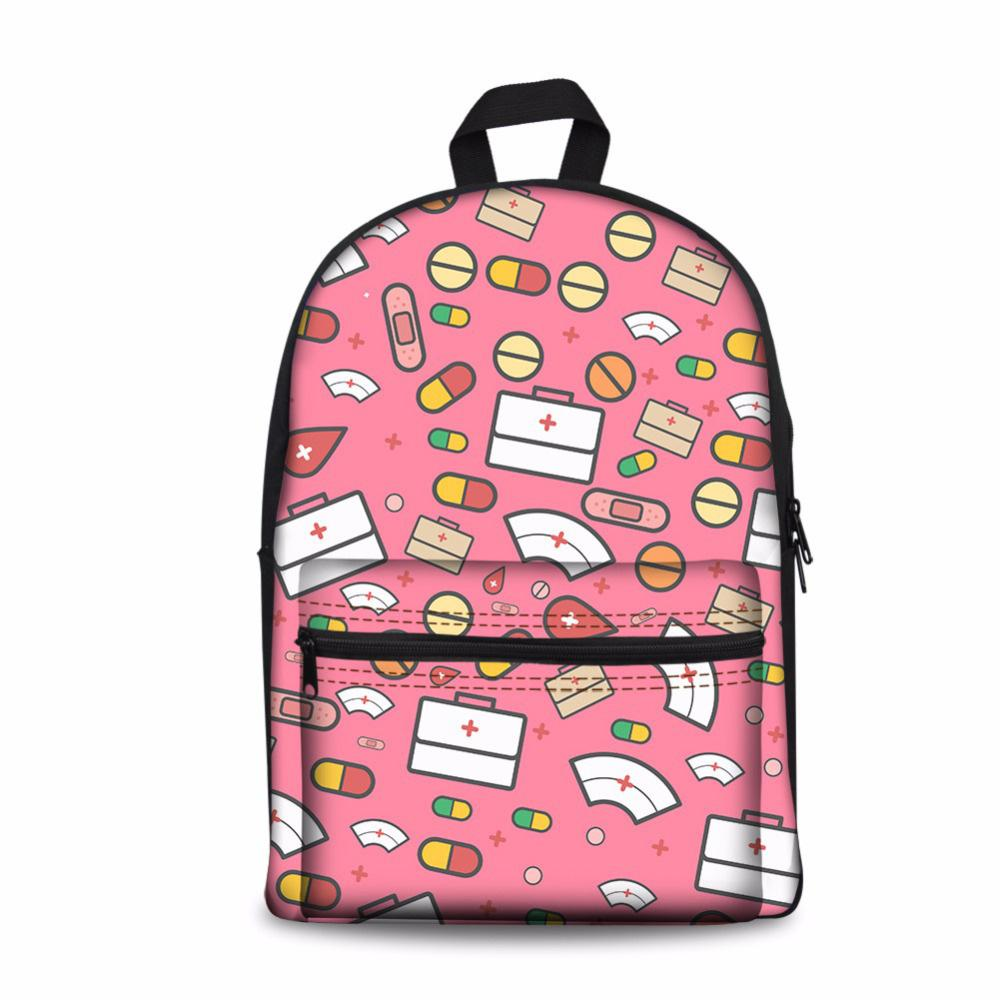 Customized Pink School Backpacks Cartoon Cute Nurse Printed Knapsack Korean Kawaii Backpack Casual Infantry Pack For Teen Girls