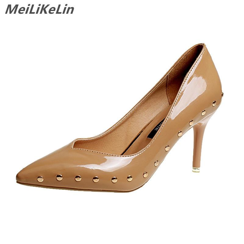 577328e0f369 MeiLiKeLin Basic Sexy Pointed Toe 8 Cm Heel Women Patent Leather Pumps Stud  Rivet Slip On Shallow Pumps High Heels White Blue Shoes Shoe Boots From  Deal22