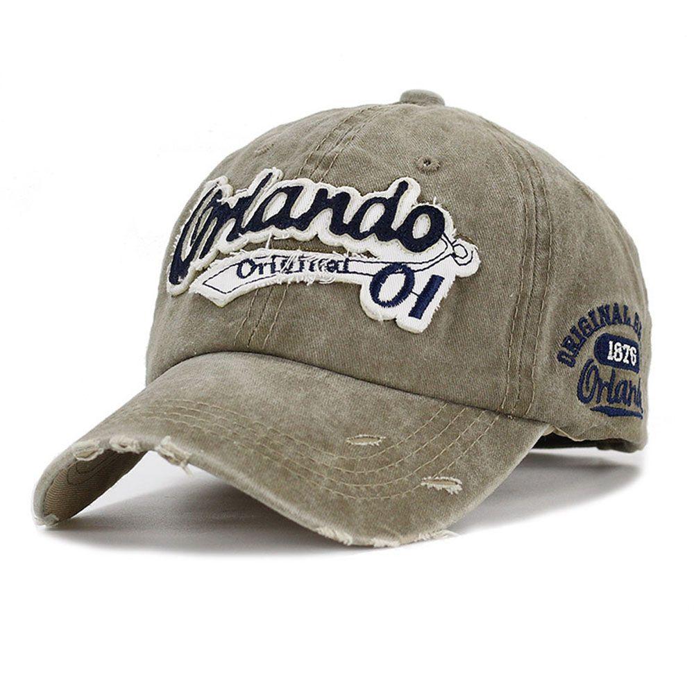 94bb7064c479be Brand Washed Cotton Baseball Cap Women Men Dad Hat Khaki Blue Letter ...