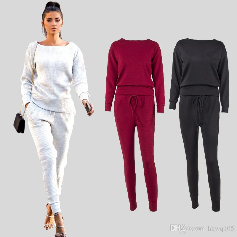 600bd926fd71 2019 Women Two Piece Sweatsuit Outfit Long Sleeve Crew Neck Pullover  Sweatshirt Drawstring Jogger Pants Fashion Casual Sports Tracksuit DYH1209  From Hhwq105 ...